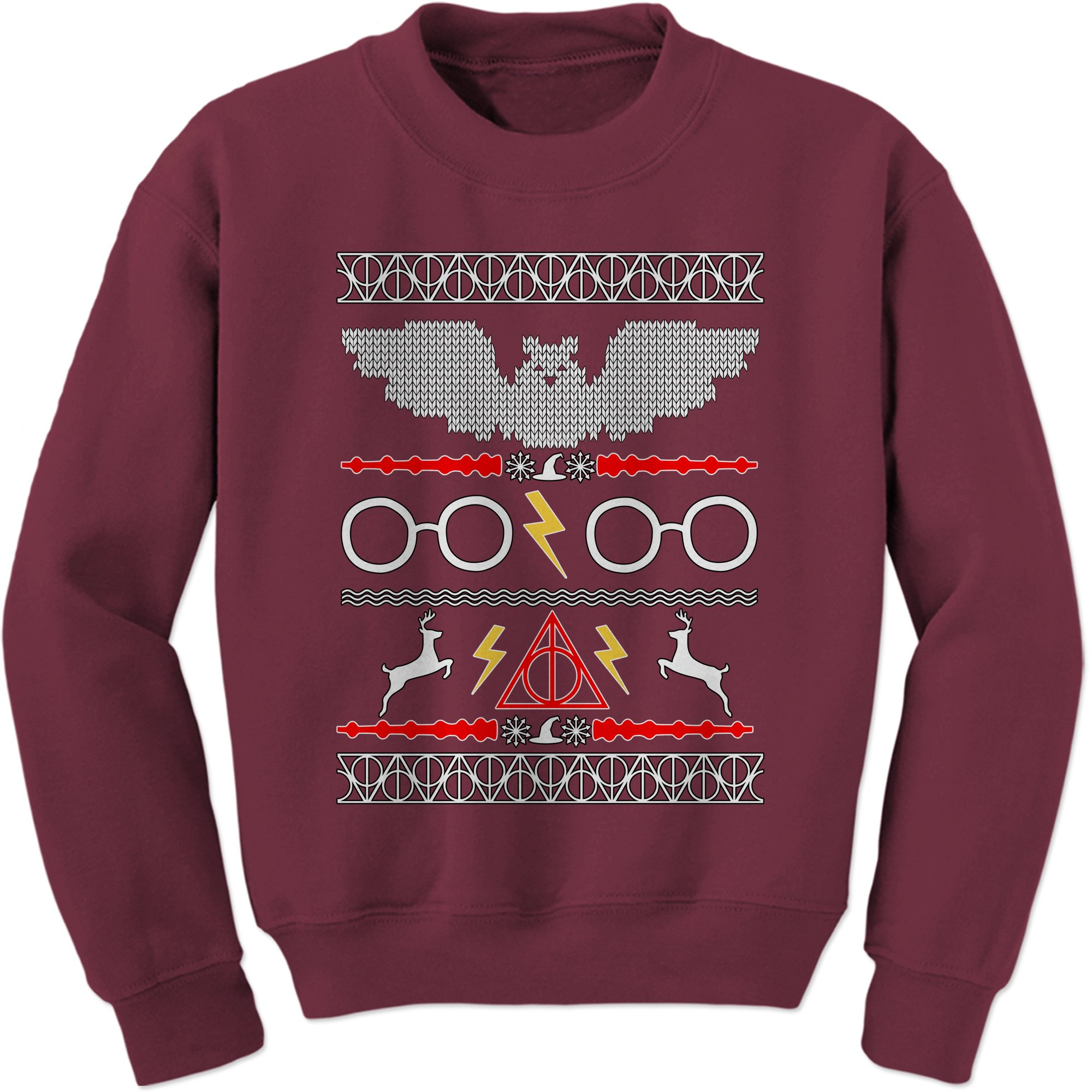 expression tees crew harry potter fawkes gryffindor ugly christmas sweater adult large maroon - Harry Potter Ugly Christmas Sweater