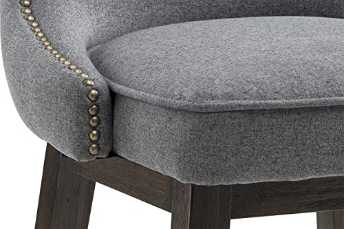 Sunpan Modern Ariana Swivel Barstool with Dark Grey Fabric