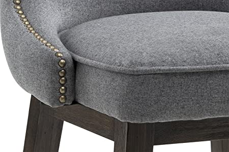 Sunpan Modern 101186 Ariana Swivel Barstool with Dark Grey Fabric