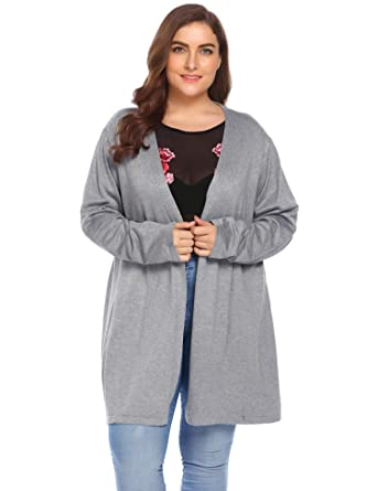 cfc5c313fa Image Unavailable. Image not available for. Color  Zeagoo Women Lady Plus  Size Autumn Winter Long Sleeve Open Front Knit Long Cardigan Sweater Drape