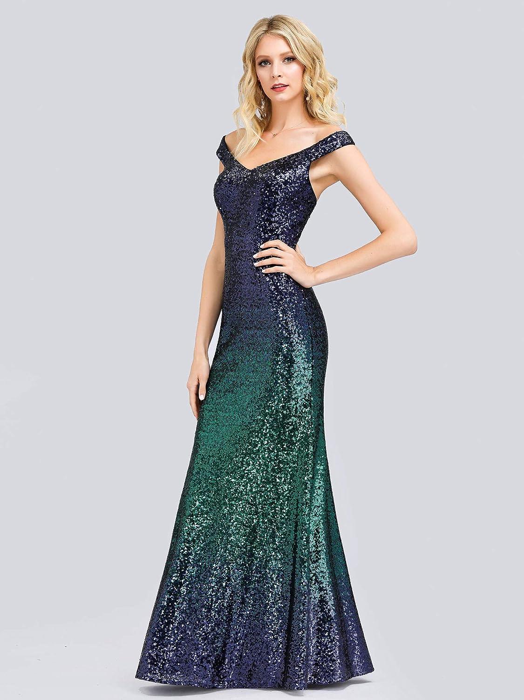 Ever-Pretty Vestidos de Fiesta Sirena Cuello en V Gradiente Lentejuelas sin Mangas Corte Imperio para Mujer 08999