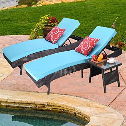 Do4u Adjustable Patio Outdoor Furniture Rattan Wicker Chaise Lounge Chair Sofa Couch Bed With Turquoise Cushion 2 Pcs Chaise Lounge And A Table
