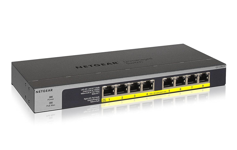 NETGEAR GS108LP-100EUS 8-Port Gigabit Ethernet PoE Unmanaged Switch