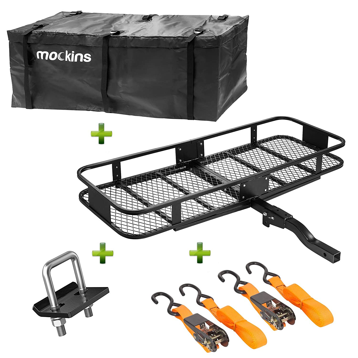 "Mockins Hitch Mount Cargo Carrier | The Steel Cargo Basket is 60"" Long X 20' Wide X 6"" Tall with A Hauling Weight Capacity of 500 Lbs and A Folding Shank to Preserve Space When Not in Use"