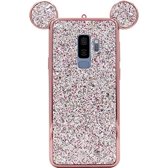 low priced b2d82 e29d0 Galaxy S9 Plus Case, MC Fashion Cute Bling Bling Sparkle Glitter 3D Mickey  Mouse Ears Flexible and Protective TPU Case for Samsung Galaxy S9 Plus ...