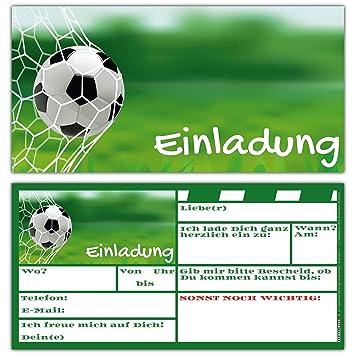 Breitenwerk 12 Er Karten Set Fussball Einladungen Zum Kindergeburtstag Oder Fussball Party Einladungskarten Fur Jungen Madchen Und Erwachsene