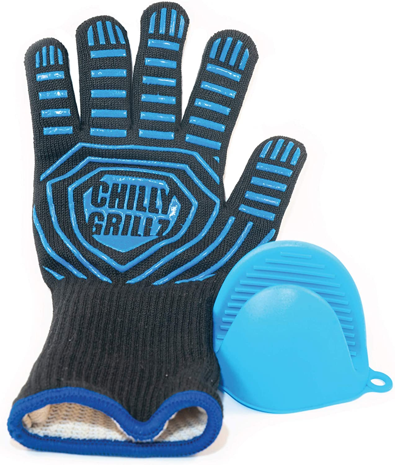 Chilly Grillz Bbq Gloves and Silicone Oven Mitt, Medium Size Heat Resistant Gloves Cooking Gloves Grill Gloves Heat Proof, Unisex Grilling Gloves: Kitchen & Dining
