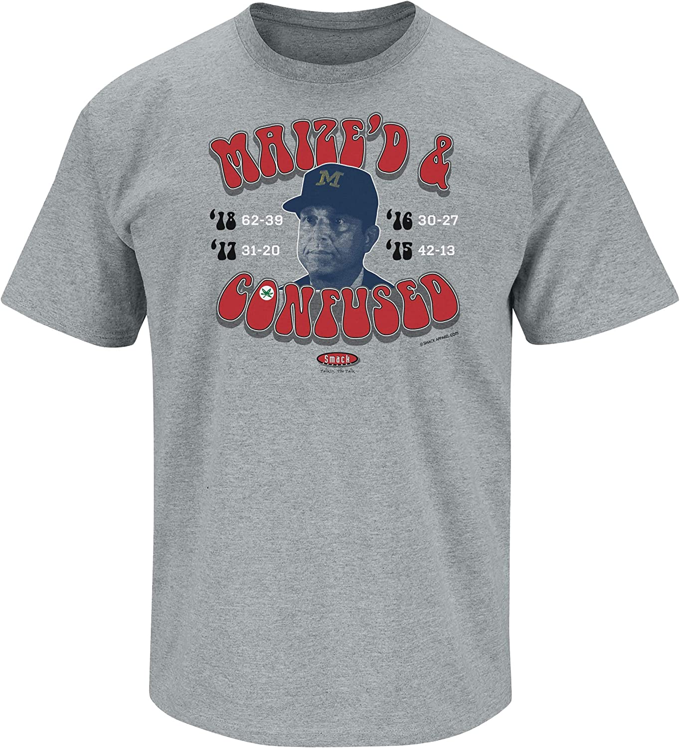 Maized /& Confused Grey T-Shirt Smack Apparel Ohio State Football Fans Sm-5X