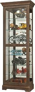 Howard Miller Martindale IV Curio Cabinet 680-635 – Aged Auburn Finish Home Decor, Six Shelves, Seven Level Display Case, Locking Slide Door, Halogen Light Switch