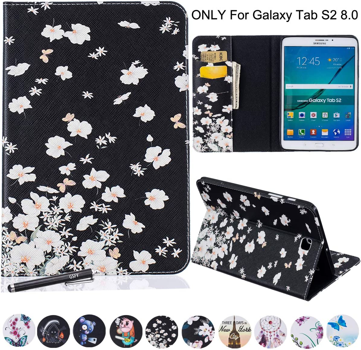 Samsung Galaxy Tab S2 8.0 Case - Newshine PU Leather Stand Folio Case Cover with Card Slots, Note Holder for Samsung Galaxy Tab S2 Tablet (8.0 Inch, SM-T710 T715) - Jasmine