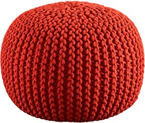Cotton Craft - Hand Knitted Cable Style Dori Pouf - Orange - Floor Ottoman - 100% Cotton Braid Cord - Handmade & Hand stitched - Truly one of a kind seating - 20 Dia x 14 High