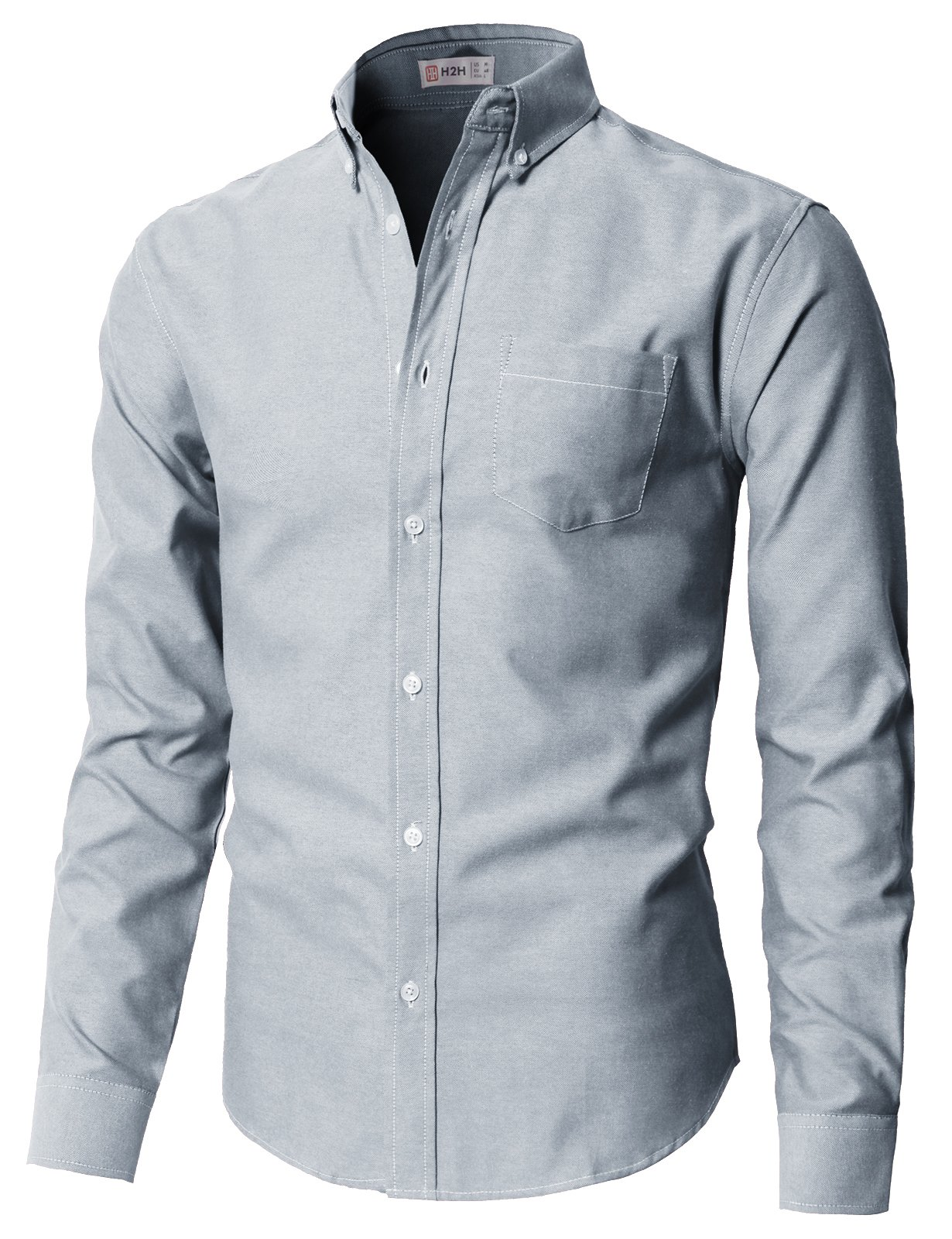 H2H Men's Clampert Worn in Oxford Long Sleeve Shirt Navy US M/Asia L (KMTSTL0521)
