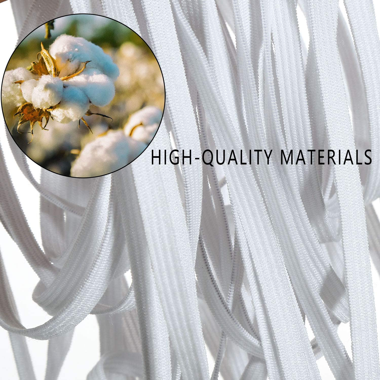 Mask 6mm//100Yards 100 Yards Length 1//4 Inch Width Braided Elastic Band Elastic Cord Heavy Stretch High Elasticity Knit Elastic Band for Sewing Crafts DIY Bedspread Cuff