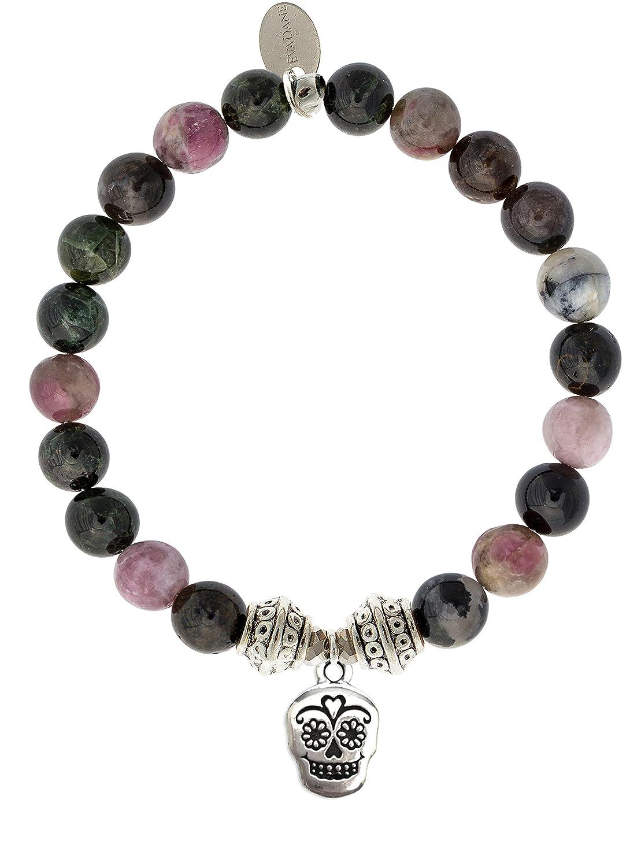 EvaDane Natural Tourmaline Gemstone Tibetan Bead Sugar Skull Charm Stretch Bracelet