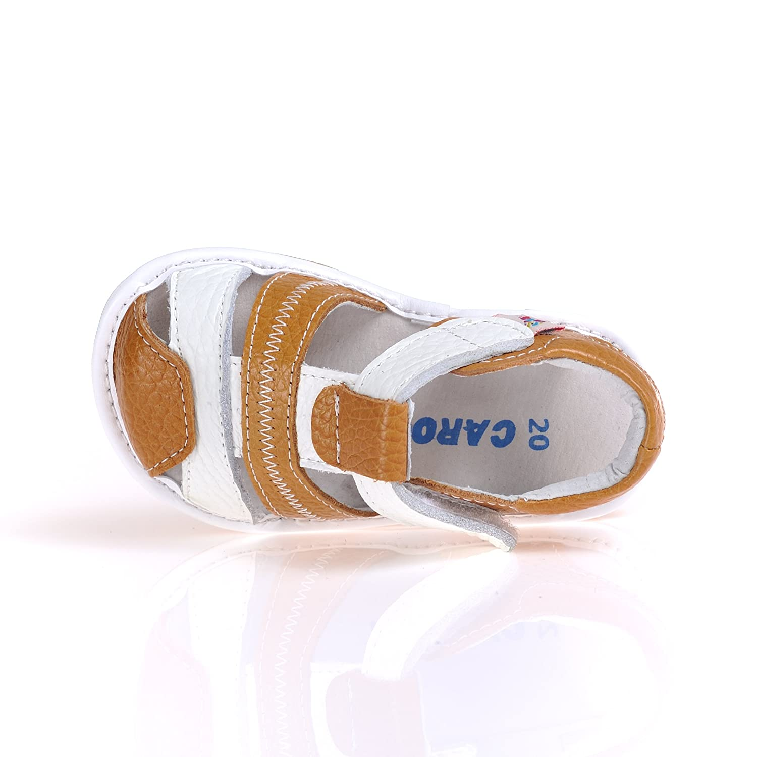CAROCH Brown Leather Squeaky Sandals Shoes Baby Toddler Boy Size 4-10 US