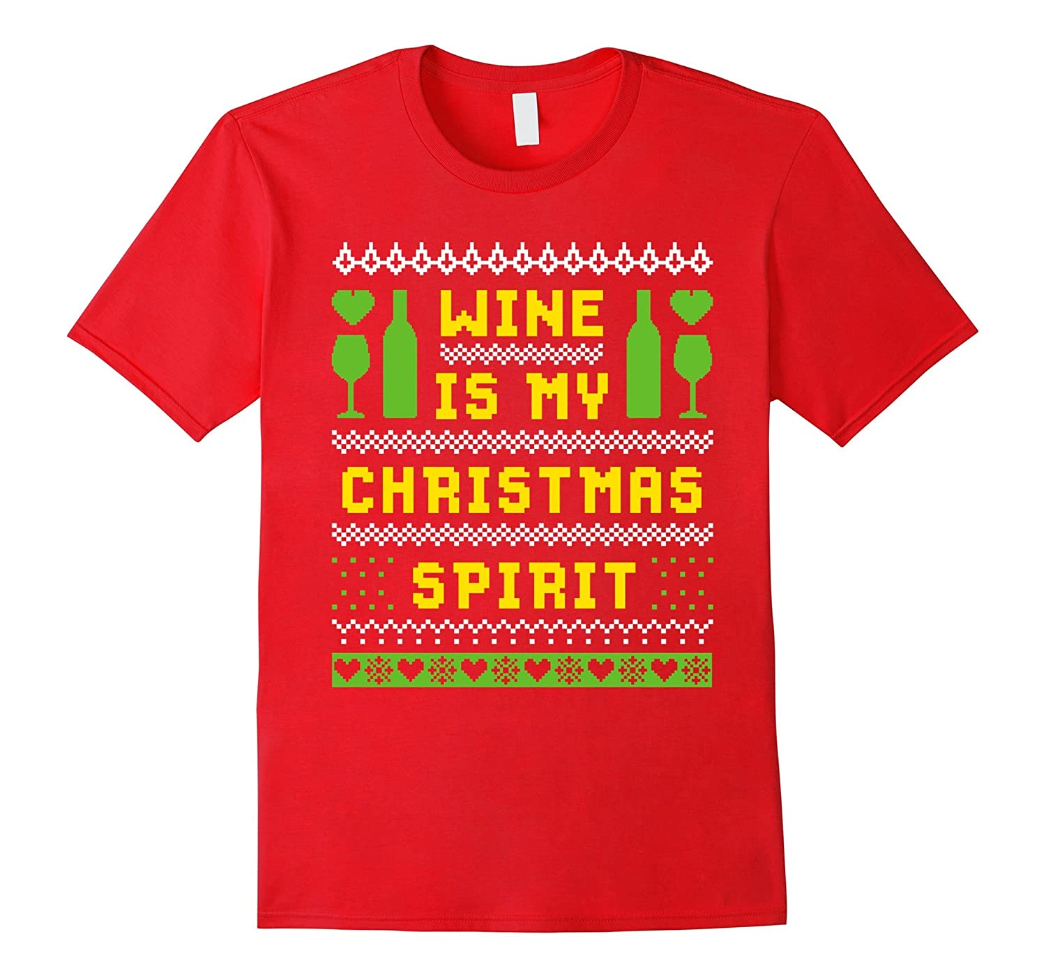 Wine Is My Christmas Spirit T-shirt Ugly Xmas Style-TD