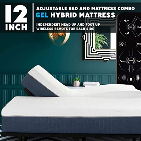 Blissful Nights Premium Adjustable Bed Frame and 12 Inch Hybrid Gel Infused Memory Foam Mattress Medium Soft Feel CertiPUR-US Certified Split Cal King