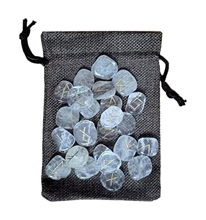 Gr/ün Jade Runen Set Natural Trommelsteine Reiki Healing Gems Samtbeutel 25/PC