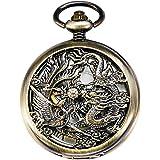 TREEWETO Mechanical Skeleton Pocket Watch Bronze Lucky Dragon + Gift Box