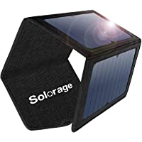 Solar Panel Charger, Solorage 21W Solar Charger with 2 USB Ports and 3 Foldable Solar Panels Portable Solar Phone…