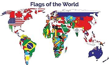 Amazon world flags poster 18x24 hi gloss world map and world flags poster 18x24 hi gloss world map and country flags gumiabroncs Choice Image