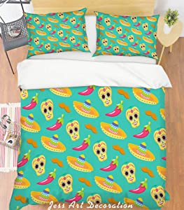 3D Cartoon Pepper Apple Straw Hat Green Duvet Cover Sets Pillowcases 3 pcs, Bedroom Decor Quilt Cover Sets, Comforter Cover,California King Queen Full Twin Size 1368 LQH (King)