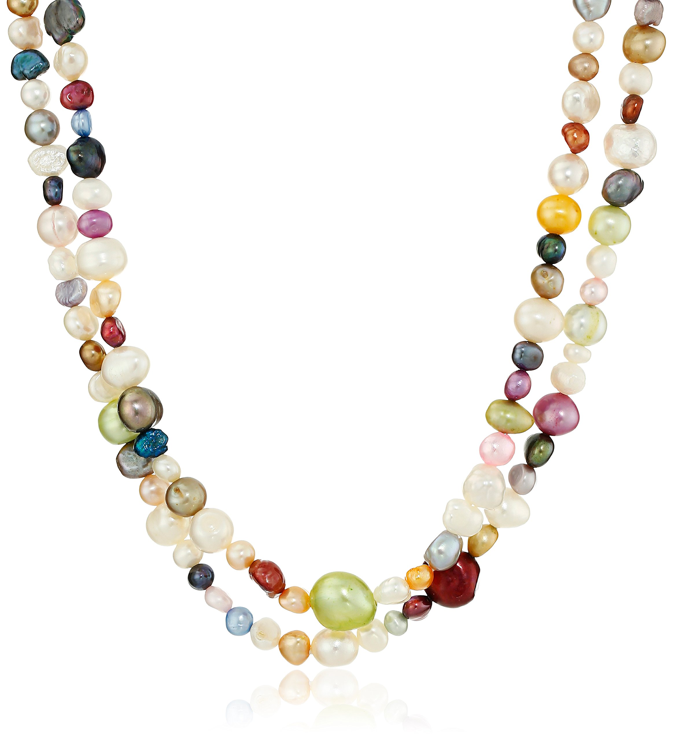 Multicolor Bright Freshwater Cultured Endless Pearl Strand, 66''