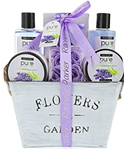 Lavender Aromatherapy Spa Gift Basket For Women. Premium Deluxe Bath and Body Basket for Women for Birthday, Thank You, Anniversary Present and to Treat Yourself!