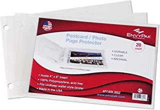 product image for EnvyPak Postcard Refill/Photo Page Protector - 2 Hole Punched - Holds 4 x 6 Inch Inserts - Clear Top Loading, Archival Safe - Pack of 20 Pages