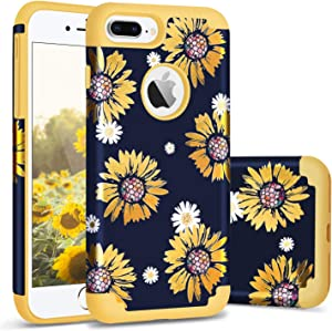 iPhone 8 Plus Case for Women,iPhone 7 Plus Case,Casewind iPhone 8 Plus Case Sunflower Hard PC Soft Silicone 2 in 1 Hybrid Protection Shockproof Rubber Bumper Anti-Scratch iPhone 7 Plus Cover,Yellow