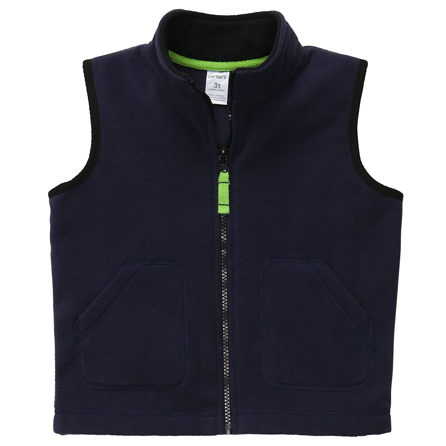 Carter's Boys Bright Yellow Fleece Zip-up Vest Navy)