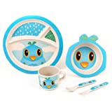BAMBOO KIDS Meal Set   Kids Plate Set   Toddler Dinner Set   Eco-Friendly Bamboo Dishes   Food-Safe Feeding Set for Toddlers and Little Kids   Boys and Girls   Bird Character by Green Frog Friends
