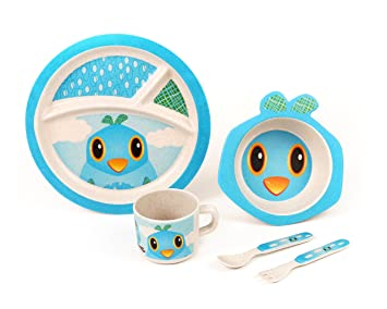 BAMBOO KIDS Meal Set | Kids Plate Set | Toddler Dinner Set | Eco-Friendly  sc 1 st  Amazon.com & BAMBOO KIDS Meal Set | Kids Plate Set | Toddler Dinner Set | Eco-Friendly Bamboo Dishes |...