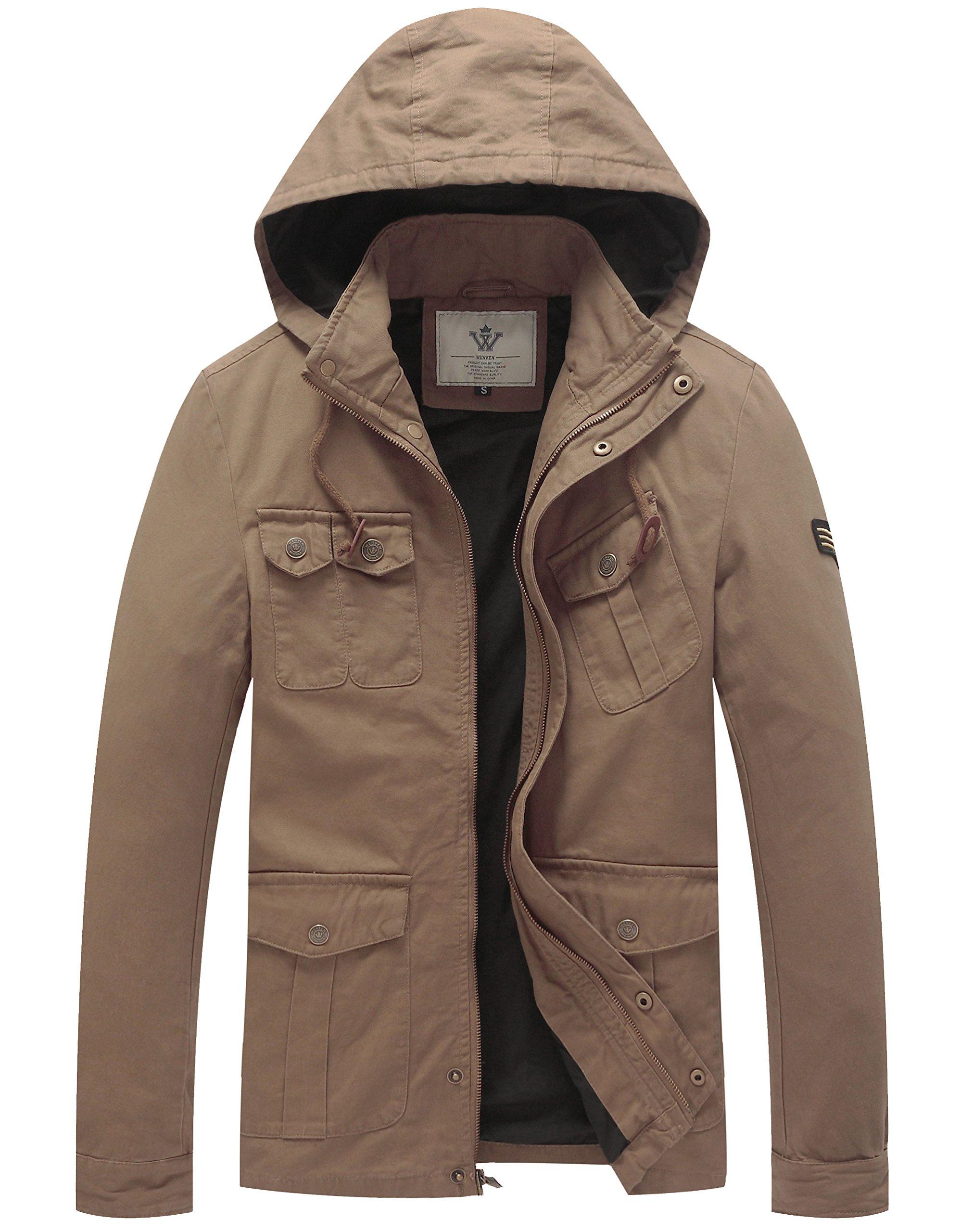 WenVen Men's Hooded Cotton Trucker Jackets (Khaki, Size M)