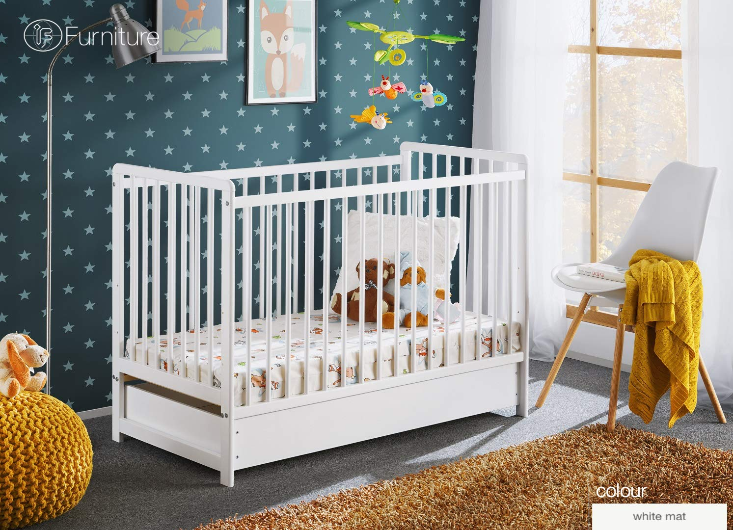 White Classic Pine Wood Baby Cot Cypi II with 4 Foam Mattress and Drawer 120 x 60 (White) ASM