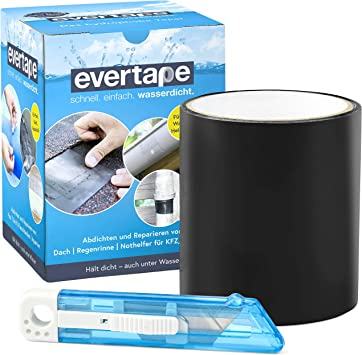 Everfix EVERTAPE Cinta Adhesiva Reparadora - Cinta Resistente al Agua - Cinta para Reparar y Sellar - Cinta Impermeable Usable Bajo el Agua y Superficies Húmedas - Cinta Negra (10 cm x 1,5 m)