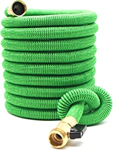 Expandable Garden Hose 50Ft Extra Strong reel. Brass Connectors with Protectors 100% No-Rust & Leak. Best Water Hose for Pocket Use. 100% Flex Expanding 50 ft (green)