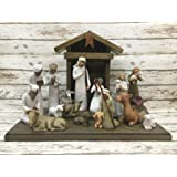 NATIVITY STABLE *Distressed REAL Wood Stables Manger fits Willow Tree by Demdaco Angels (not included) *Handmade in USA *Green Red Burgundy Antique White *No Assembly!