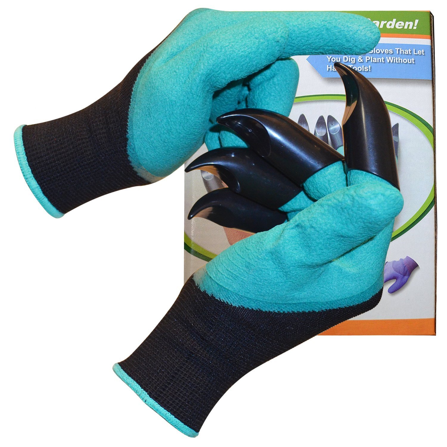 Claw Gloves For Men and Women; Claws On Right Glove For Fun Digging While Doing Outdoor Gardening; Heavy Duty Waterproof Green Rubber With Cool Knit Back of Hand; Medium Size Fits Most by Grow For It