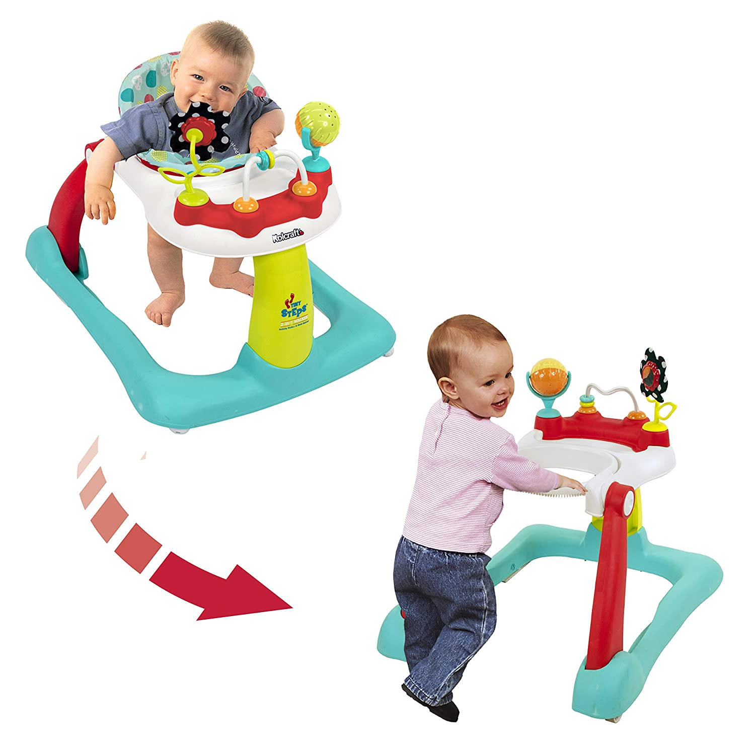 Amazon Kolcraft Tiny Steps 2 in 1 Activity Walker Seated or