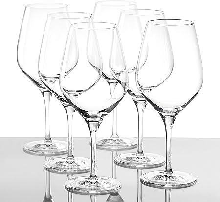 Copas para vino tinto Exquisit tipo Burdeos de Stölzle Lausitz, de 645 ml, juego de 6, aptas para lavavajillas: Copas elegantes para vino tinto, fabricadas en cristal resistente a roturas, finas y nobles.