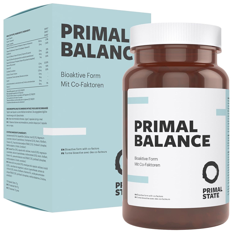 Complejo de Vitamina B de alta dosis | Vegano | PRIMAL BALANCE | contiene las ocho vitaminas B | Bioactivas y con cofactores | B1, B2, B3, B5, B6, B12, ...