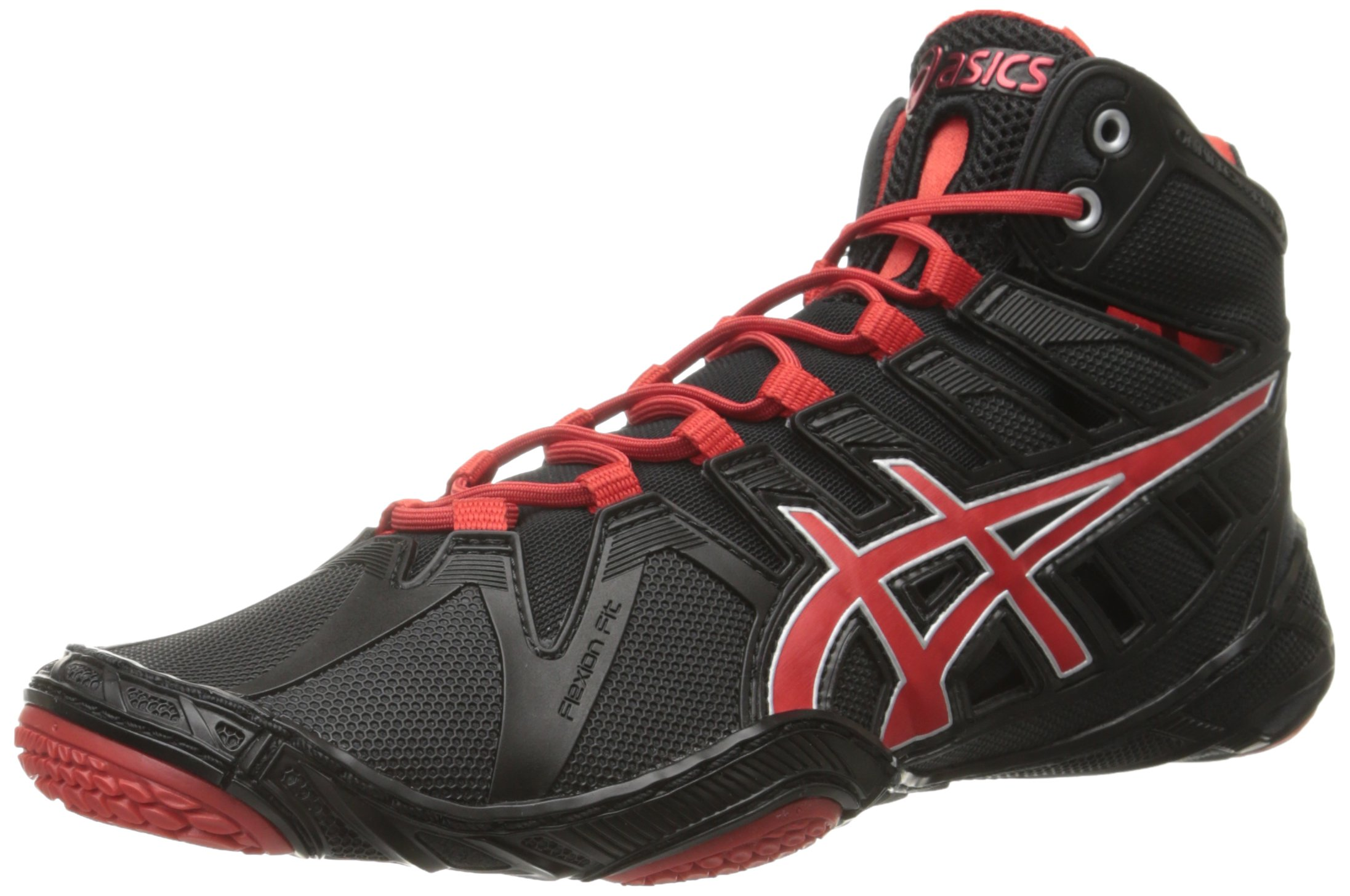 ASICS Men's Omniflex-Attack 2 Wrestling Shoe, Black/Pepper Red/Silver, 11 M US
