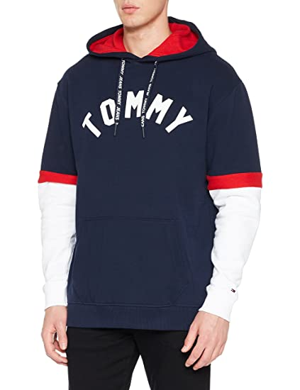 5f6f6c95bc8cad Tommy Jeans Men's Colorblock Hoodie Sweatshirt: Amazon.co.uk: Clothing