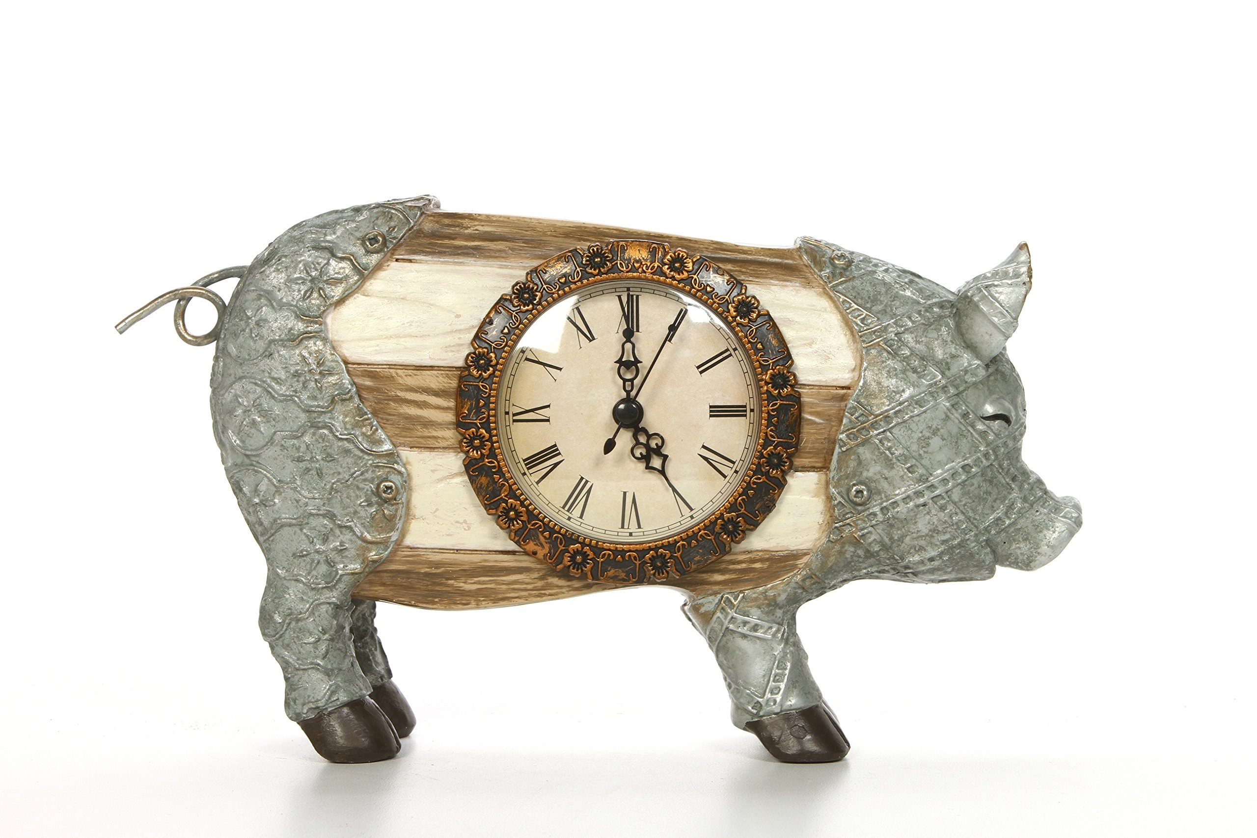 Hosley 6.14'' High, Decorative Tabletop Pig Clock. Ideal Gift for Wedding, Home, Party Favor, Spa, Reiki, Meditation, Bathroom Settings O9