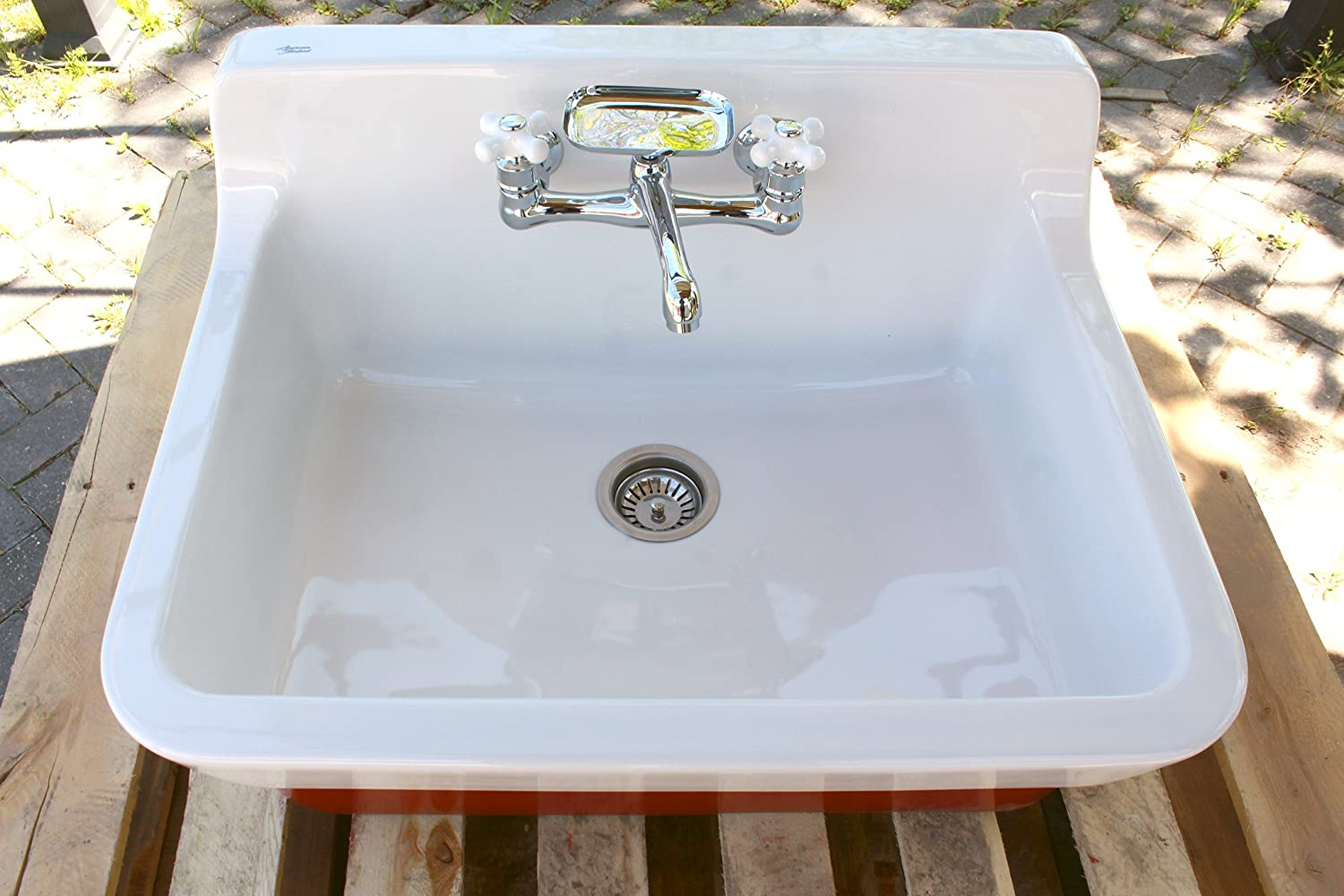 Amazon.com: Incarnadine Red Vintage Style High Back Farm Sink ...