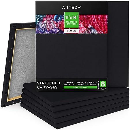 ARTEZA Lienzos negros estirados | Tamaño 27,9 x 35,6 cm | Pack de 8 | 100% algodón | Lienzos pretensados e imprimados sin ácidos | Ideales para pintar con acrílicos, óleo, témperas y medios húmedos: Amazon.es: Hogar