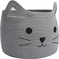 HiChen Large Woven Cotton Rope Storage Basket, Laundry Basket Organizer for Towels, Blanket, Toys, Clothes, Gifts | Pet…