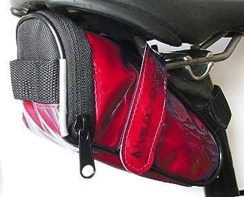 VeloChampion Slick Pack de asiento de bici - Bolsa para sillin de bici (Rojo)