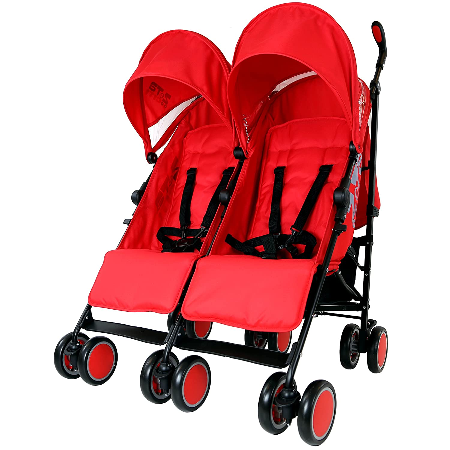 Zeta Citi TWIN Stroller Buggy Pushchair - Warm Red Double Stroller Baby TravelTM